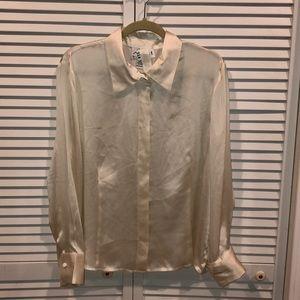 Vtg 90s silk button down shirt 1x